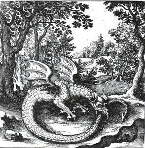 Gemeinfrei, https://commons.wikimedia.org/w/index.php?curid=1533358 Der Drache Ouroboros in dem alchemistischen Werk De Lapide Philosophico (herausgegeben von Lucas Jennis, 1625)
