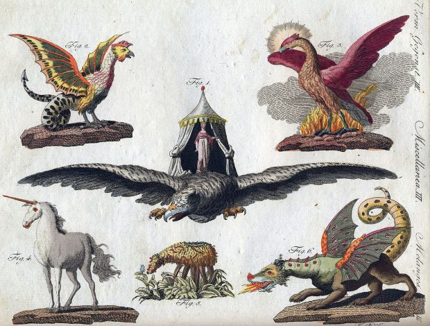Gemeinfrei, https://commons.wikimedia.org/w/index.php?curid=940684 Fabelwesen. Darstellung F. J. Bertuch 1806: Basilisk, Vogel Roch, Phönix, Einhorn, Skythisches Lamm, Chimäre