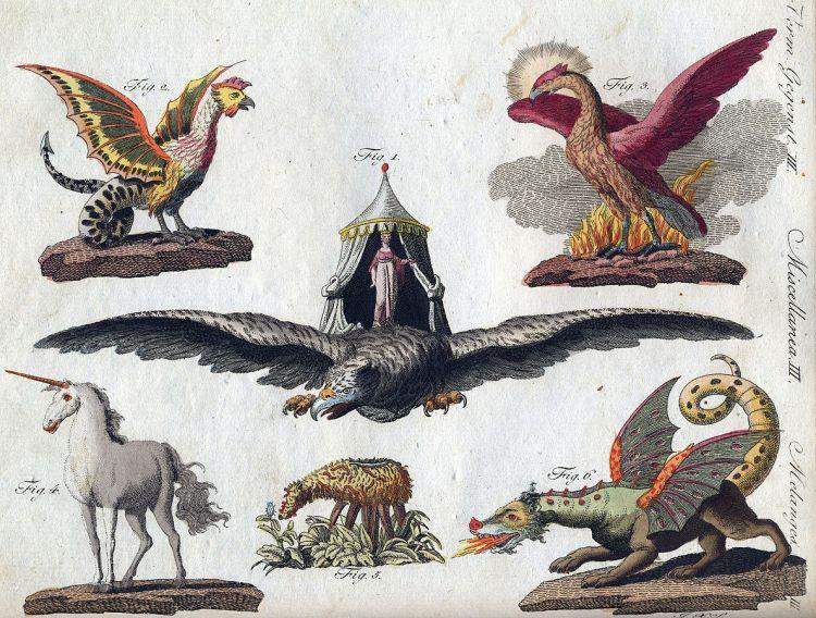 Gemeinfrei, https://commons.wikimedia.org/w/index.php?curid=940684 Fabelwesen. Darstellung F. J. Bertuch 1806: Basilisk, Vogel Roch, Phönix, Einhorn, Skythisches Lamm, Chimäre